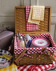 Gingham picnic basket.