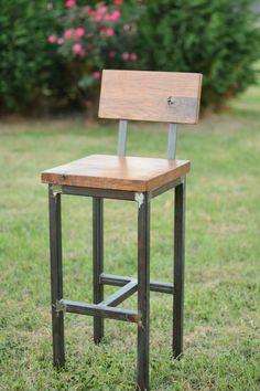 Wood and Steel Barstool Reclaimed Lumber by ElpersDesign on Etsy Más