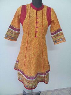 Anarkali Cotton Kurti-Yellow Color Pure Cotton Kurti (Offer Price: Rs 549 , Offered Discount: 42%) ** BUY NOW ** [MRP: Rs 949]