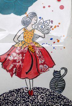 lot de 2 cartes d'art, dessins originaux les petites nanas : Affiches…