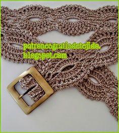 Patrón de cinto tejido al crochet para usar con hebilla