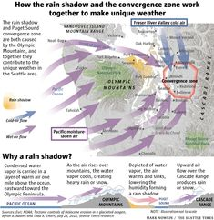 Why are raindrops smaller in Seattle? How do the mountains affect Puget Sound weather? Your rain questions, answered. Seattle News, Seattle Times, Pacific Northwest Weather, Neah Bay, Rain Shadow, Fraser River, Snohomish County, Olympic Mountains