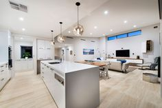 Interior Design Plush White Interior Home Idea With Stylish Ceiling Fixtures Also Wood Floor Feat Narrow Kitchen Island Perth House Promising Unlimited Sea View and Contemporary Elegance Luxury Interior, Interior Architecture, Interior Design, Beautiful Kitchens, Cool Kitchens, Narrow Kitchen Island, Inside Home, Loft, Modern House Design