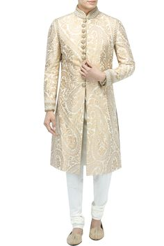 Ivory And Gold Sherwani With Churidaar Featuring an ivory and gold brocade sherwani with zardosi work on cuff, collar and buttons. It is paired with a solid ivory churidaar. Zardosi Work, Sherwani, Ivory, Tunic Tops, Silk Brocade, Fabric, Gold, Buttons, Shopping