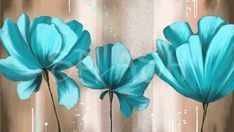 Flores color turquesa SP683 Acrylic Flowers, Acrylic Art, Painting Patterns, Fabric Painting, Hand Painted Canvas, Leaf Art, Canvas Artwork, Flower Wall, Blue Flowers