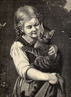 """""""Pussy and I"""" - Illustration from """"The Keepsake Picture Book""""; London: Ward, Lock, and Co. (1878)"""