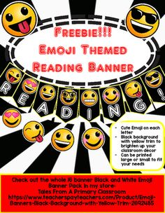 Emoji Banner Freebie! Black Background with Yellow TrimEnjoy this Reading! banner free! It is create on 8.5 x 11 slides, but you can print…