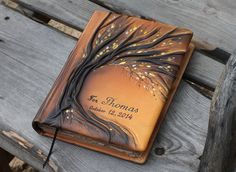 Leather wedding guest book Tree of life  Bridal by crearting