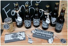 Range of printables for Father's Day. Including beer labels, chocolate bar wrappers and gift tags #Printables #Father'sDay