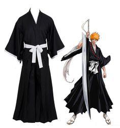 Bleach Kurosaki Ichigo Robe Cloak Coat Japanese Anime Cosplay Halloween Costume  sc 1 st  Pinterest & The 393 best Halloween images on Pinterest | Cosplay costumes ...