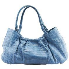 Pre-owned Nancy Gonzalez Blue Crocodile Shoulder Bag ($1,265) ❤ liked on Polyvore featuring bags, handbags, shoulder bags, blue, blue shoulder handbags, crocodile purse, purse shoulder bag, crocodile handbags and man shoulder bag