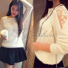 Womens Lace Crochet Floral Off Shoulder Knitwear Sweater Jumper Shirt Top Blouse in Clothes, Shoes & Accessories, Women's Clothing, Tops & Shirts | eBay