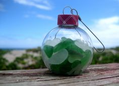 Hawaiian Christmas Ornament - Hawaiian Green and Clear Beach Glass in Glass Ornament Ball by LindseysBeachGlass, $14.00