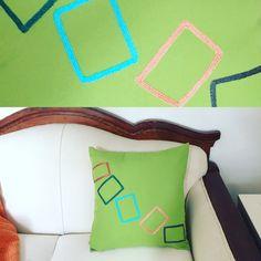 "Hand made pillow includes pillow insert. 18""x18"" By Mar $50 Cojín con inserto incluido. Tamaño 45cmx45cm. www.marlifeshop.com WhatsApp (507) 62523992"