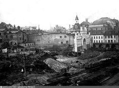 Фотография - Снос Китайгородской стены рядом с Театральным проездом - снимок сделан в 1934 году (направление съемки — юго-запад)