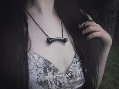 """• Nox Ithil Creations •  Handmade Bone Jewelry in """"Dull Silver""""."""