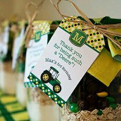 John Deere birthday party favors - cookie mix with printables from Chickabug Tractor Birthday, Farm Birthday, 4th Birthday Parties, Birthday Ideas, Birthday Bash, John Deere Party, Babyshower, Farm Party, First Birthdays