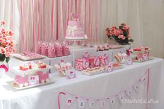 Table set up with Boxes Bunny Birthday, Birthday Table, Birthday Parties, Ideas Bautizo, Sweet Corner, Ballerina Party, Girly, Ideas Para Fiestas, Fiesta Party