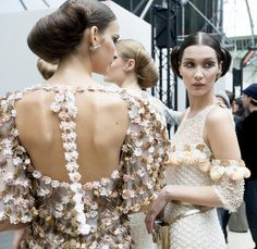 Backstage at Chanel Spring 2016 Haute Couture.