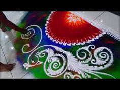 Diwali special rangoli Innovative Rangoli Peacock Rangoli Design by Satish Thavi 3d Rangoli, Happy Diwali Rangoli, Sanskar Bharti Rangoli Designs, Peacock Rangoli, Rangoli Colours, Rangoli Borders, Rangoli Ideas, Indian Rangoli Designs, Rangoli Designs Latest