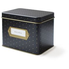 West Elm Rifle Recipe Box, Black Polka Dot ($25) ❤ liked on Polyvore featuring home, home decor, small item storage, polka dot home decor, tin recipe box, west elm, recipe tin and black home decor