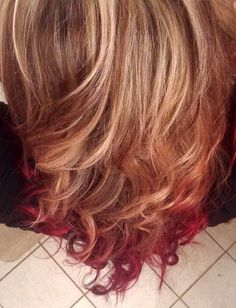 Ombre hair Blonde to velvet red, w/ low & highlights..