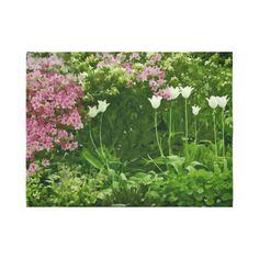 Beautiful Pink Green Flower Garden Cotton Linen Wall Tapestry 80