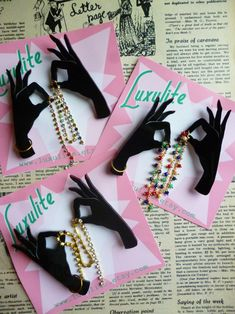 ab2177dc8 Shadow Hands - 1940s 50s style novelty hands silhouette brooch by Luxulite