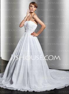 Wedding Dresses - $194.99 - A-Line/Princess Sweetheart Chapel Train Chiffon  Satin Wedding Dresses With Ruffle (002012694) http://jjshouse.com/A-line-Princess-Sweetheart-Chapel-Train-Chiffon--Satin-Wedding-Dresses-With-Ruffle-002012694-g12694