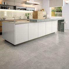 flooring porcelanato Gubi RPS Distributors Inc. Gubi RPS Distributors Inc. Concrete Kitchen Floor, Grey Kitchen Floor, Concrete Look Tile, Grey Floor Tiles, Grey Flooring, Kitchen Tiles, Kitchen Flooring, Ceramic Floor Tiles, Large Floor Tiles
