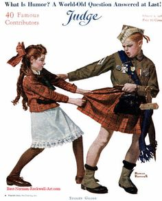 """Stolen Goods"" 5/1918 aka. ""Boy Stealing Girl's Kilt"" by Norman Rockwell for Judge, cover"