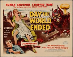 Day the World Ended (American Releasing Corp., Half Sheet X Science Fiction. - Available at Sunday Internet Movie Poster. Sci Fi Horror Movies, Sci Fi Films, Horror Movie Posters, Film Posters, Apocalyptic Movies, Post Apocalyptic Fiction, Detroit, Terrifying Stories, Michigan