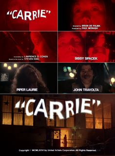 Carrie (1976) trailer typography – the Movie title stills collection #horror #movies #horrormovies