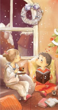 warm inside with books and cocoa ...