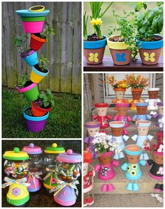 Terracotta flower pots can make such great gifts for moms on Mother's Day! Who knew there could be so many creative ideas? I browsed Pinterest to find my favorite ones but unfortunately most don't have any directions :( Topsy Turvy Flower Pots Thumbprint Flower Pots Flower Pot Gumball Machines Mother's Day Pot People Flower Pot Wind …