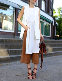 Proof You Shouldnt Be Afraid of Culottes ~ pair it with long vest