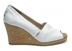 White Grosgrain Women's Wedges   TOMS.com #toms And this one too will look great with long skirts
