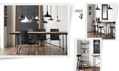 tall table placement in the living room - minimal desk/dining table | Restoration Hardware