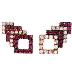Khai Khai 'Square Stack' diamond ruby 18k rose gold stud earrings (5.040 BRL) ❤ liked on Polyvore featuring jewelry, earrings, metallic, ruby earrings, diamond jewelry, ruby stud earrings, earring jewelry and rose gold diamond earrings