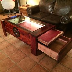 table with shadow box and concealed gun storage
