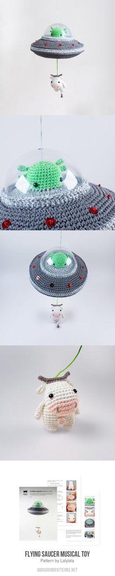 Flying Saucer Musical Toy amigurumi pattern by Lalylala Cute Crochet, Crochet Crafts, Crochet Dolls, Yarn Crafts, Diy And Crafts, Knit Crochet, Crotchet, Amigurumi Patterns, Knitting Patterns