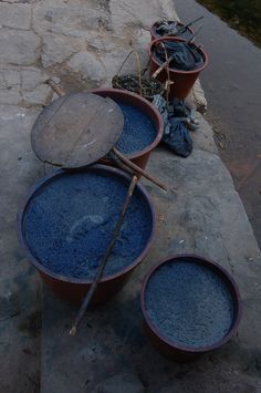Huge vats of blue dye