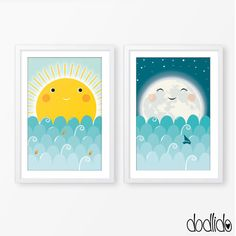 Kids poster set, sun and moon poster, digital file, instant download, kids room decor, nursery decor, children illustration, baby poster. This is perfect as a baby gift, to decorate a nursery, childs room or playroom. This item is an INSTANT DOWNLOAD. You will receive an high resolution 300