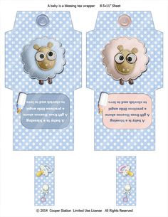 Digital Printable Tea Bag Wrappers New Baby theme by CooperStation, $1.75