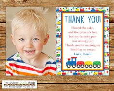 Train Thank You Card with Photo | Birthday Train Thank You Card | Photo Thank You Card | Train Thank You Card | Primary Colors Train Party by ThePaperGiraffeShop on Etsy