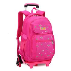 1d48211ddc07 Hot Sales Removable Children School Bags with 3 Wheels Children Climb Stair  Trolley Bookbag Kids Wheeled Bags Girls Backpack