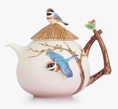 Franz Porcelain Black-throated Passerine Teapot