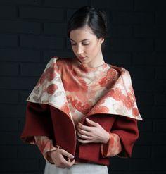 Ecoprint collection 2016 Montse Lira diseño textil hecho en Chile Silk crepe, habutai and nunofelt