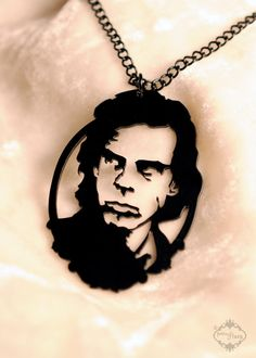 Nick Cave portrait necklace. Perfection in stainless steel. $26