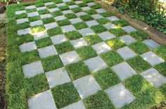 backyard-checkerboard-grass-concrete-pathway - Home Decorating Trends - Homedit Small Backyard Gardens, Backyard Landscaping, Backyard Ideas, Backyard Decorations, Outdoor Life, Outdoor Living, Concrete Pathway, Grass Pattern, Backyard Furniture